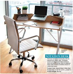Refresh Your Office with chic office furniture! LumiSource Notation Desk, Caviar Office Chair, Fold LED Lamp