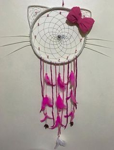 Hello Kitty Dreamcatcher and like OMG! get some yourself some pawtastic adorable cat shirts, cat socks, and other cat apparel by tapping the pin! Yarn Crafts, Diy And Crafts, Arts And Crafts, Dream Catcher Tutorial, Dream Catcher Decor, Hello Kitty Birthday, Hello Kitty Nursery, String Art, Diy Art