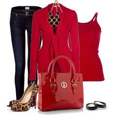 """Red Handbag and Animal Print"" by lisa-holt on Polyvore"