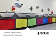 Somewhere over the rainbow… Located in the heart of Essex countryside, Wimbish Primary School chose a stunning array of colours for their new washroom. Essex Countryside, Vibrant Colors, Colours, Washroom, Primary School, Case Study, Double Vanity, Rainbow, Heart