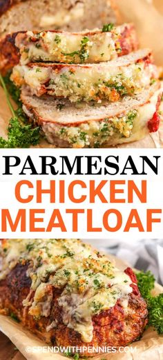 DINNER : This chicken meatloaf is easy to prepare. Made with a parmesan cheese core and a crunchy cheesy topping this meatloaf is a favorite with my family! Ground Chicken Meatloaf, Ground Chicken Recipes, Chicken Parmesan Recipes, Turkey Recipes, Meat Recipes, Cooking Recipes, Healthy Recipes, Chicken Parmesan Meatloaf, Recipies