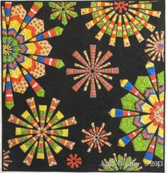 Fiesta Fireworks Quilt – All Finished Circle Quilts, Quilt Blocks, Quilting Projects, Quilting Designs, Dresden Plate Quilts, Kaleidoscope Quilt, Colorful Quilts, Quilt Festival, Contemporary Quilts