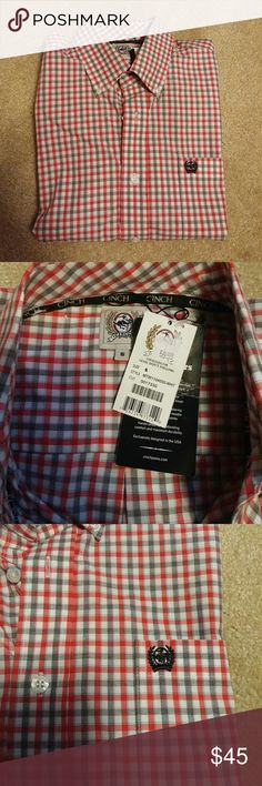 Cinch Pinpoint Long Sleeve Dress Shirt Checkered New 100% cotton Great riding/western shirt Cinch Shirts Dress Shirts