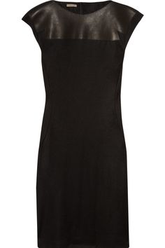 Bottega Veneta dress: black wool jersey, leather panels at front and back of neckline, round neck, cap sleeves with serged trims, tucked-under hem. Corporate Women, Work Chic, Ralph Lauren Collection, Dress For Success, Jumpsuit Dress, Bottega Veneta, Lbd, Get Dressed, Evening Gowns