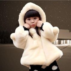 e1eed0c045e5 2019 Autumn Winter Girls Faux Fur Coat Cotton Jacket For Girls Hooded Coats  Baby Child Christmas Thickened Kids Warm Clothes