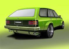 Concept by Michael Gray Design Australian Muscle Cars, Aussie Muscle Cars, Car Jokes, Car Humor, Holden Torana, Holden Australia, Car Prints, Old Classic Cars, Fancy Cars