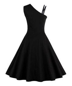 Sucrefas Black & White Asymmetrical Dress - Plus Too | zulily