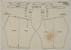 Patroontekening van een mannenonderbroek. Schaal 1:4. 1948 #Utrecht #Spakenburg