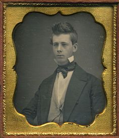 Daguerreotype with original case. Exceptional, bright and clean daguerreotype portrait of handsome young gentleman with swept up hair and bow tie with high collar. Acquired in central New York state. | eBay!