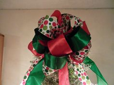 Large Christmas Tree topper bow red and  traditional green and matching polka dot  ribbons 8ft tails by creativelycarole on Etsy