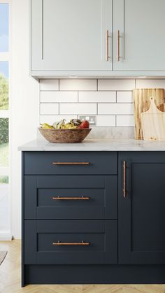 Whether it's small touches or a complete kitchen refurb - we have it covered. Kitchen Cabinet Remodel, Kitchen Cabinet Colors, New Kitchen Cabinets, Kitchen Redo, Kitchen Cabinets With Handles, Rental Kitchen Makeover, Navy Cabinets, Two Tone Kitchen Cabinets, Urban Kitchen