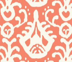 coral ikat fabric by domesticate for sale on Spoonflower - custom fabric, wallpaper and wall decals