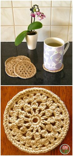 I have rounded up some of the best and interesting #free #crochet #coaster patterns for your home!Crocheted Coaster