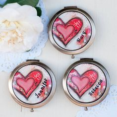 Custom Bridesmaid Gifts - Unique Bridesmaids Gifts - Red Heart Compact Mirror Set 2 or More - Personalized Bridesmaid Gifts - Whimsical Art