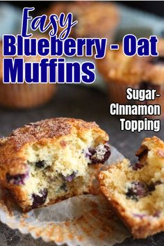 These blueberry oatmeal muffins can be made with fresh or frozen blueberries. Instant oats (or quick oats) add texture, and the cinnamon-sugar topping is divine. Quick, easy recipe that beats all other blueberry muffin recipes. Blueberry Oatmeal Muffins, Raisin Muffins, Pumpkin Chocolate Chip Muffins, Oats Recipes, Muffin Recipes, Cupcake Recipes, Breakfast Recipes, Recipies, Snack Recipes