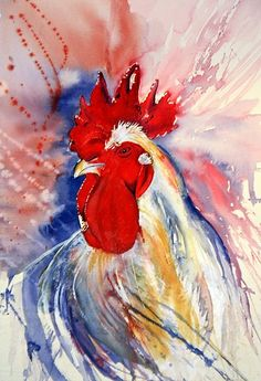 I love the style... Hate chickens and roosters, but love the vibe of this piece.    Solveig Rimstad