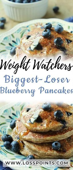 Biggest-Loser Blueberry Pancakes Wake up to fluffy, homemade blueberry pancakes, without any of the dieter's guilt. Weight Watchers Breakfast, Weight Watchers Diet, Weight Watcher Dinners, Weight Watchers Smart Points, Low Calorie Recipes, Ww Recipes, Dessert Recipes, Cooking Recipes, Recipies