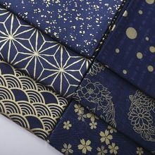 Leo e LIN de bronze azul escuro stamping impressão japonês kimonos restaurar antigo Patchwork algodão costura ( 1 metro )(China (Mainland))