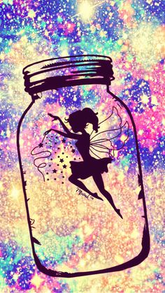Fairy in a jar galaxy wallpaper Fairy Wallpaper, Cute Wallpaper For Phone, Emoji Wallpaper, Cute Wallpaper Backgrounds, Pretty Wallpapers, Colorful Wallpaper, Galaxy Wallpaper, Cellphone Wallpaper, Disney Wallpaper