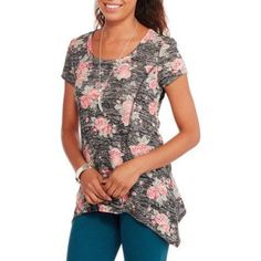 No Boundaries Juniors Lace Swing Top with Keyhole Back, Size: Large, Black Swing Top, Large Black, Floral Tops, Tunic Tops, Walmart, Cap, Casual, Stuff To Buy, Dresses