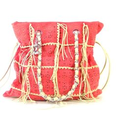 cb56bdd87239 This is an authentic CHANEL Calfskin Perforated Drawstring Fringe Tote  Coral. This stunning tote is