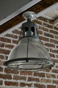 FUJIYAMA FURNITURE HOLOPHANE RIBBED GLASS LIGHT FIXTURE Industrial Light Fixtures, 2017 Design, Farm Shop, Office Interiors, Ceiling Lights, Rustic, Lighting, Deli, Antiques