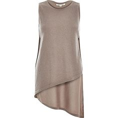 Brown metallic asymmetric side split top
