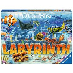 Ravensburger Ocean Labyrinth - Players dive down into a fantastic underwater world. In the coral gardens, search for sea animals, amphoras, and treasures. With the right tactics, the diving scooter helps you move along more quickly. Family Boards, Family Board Games, Board Games For Kids, Kids Board, Group Games, Games To Play, Labyrinth Board Game, Family Night, Picture Cards