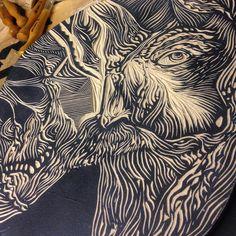 """Samuel Casal """"Desenferrujando... #gravura #xilografia #xilogravura #Xilo #printmaking"""""""