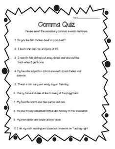multiple choice comma quiz pdf