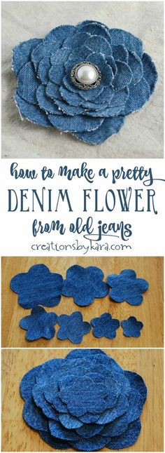 Blue Jean Upcycles - Denim Flower From Old Jeans - Ways to Make Old Denim Jeans Into DIY Home Decor, Handmade Gifts and Creative Fashion - Transform Old Blue Jeans into Pillows, Rugs, Kitchen and Living Room Decor upcycled crafts Blue Jeans, Jeans Bleu, Blue Denim, Artisanats Denim, Denim Blouse, Denim Bags From Jeans, Denim Purse, Upcycled Crafts, Diy Crafts