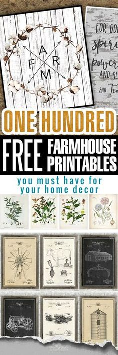 Our team browsed hundreds of free and not-so-free farmhouse printables and came up with a collection of BEST FREE FARMHOUSE DECOR PRINTABLES available. 100 plus Free farmhouse decor printables! Why you are still reading this Vintage Farmhouse, Farmhouse Wall Art, Farmhouse Decor, Farmhouse Style, Farmhouse Signs, Industrial Farmhouse, Farmhouse Lighting, Vintage Industrial, Industrial Style