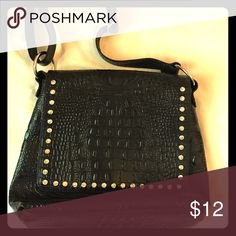 "Black purse Black purse, messenger bag/crossbody style. Rhinestone detail. 10""x11"". Bags Crossbody Bags"