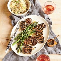 Grilled Pork Tenderloin with Orange-Sesame Asparagus and Rice | MyRecipes.com