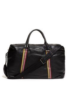 PS men's black leather holdall bag.