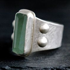 Aquamarine Ring in Recycled Sterling Silver - Window Ring Size 7.25