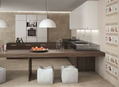 Modern tile - 80 ideas for bathroom, kitchen and living space - Women Style Tips Kitchen Wall Tiles, Wood Kitchen Cabinets, Elegant Kitchens, Beautiful Kitchens, Wood Tile Floors, Flooring, Modern Floor Tiles, Interior Exterior, Interior Design