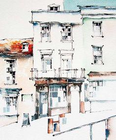 Watercolor Architecture, Watercolor Landscape Paintings, Landscape Prints, Urban Landscape, Watercolor Sketchbook, Watercolor Drawing, Painting & Drawing, Japan Illustration, Building Drawing