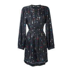 ISABEL MARANT 'Rabea' Dress (59.755 RUB) via Polyvore featuring dresses, black, polka dot dress, spotted dress, multi-color dress, multicolored dress и isabel marant