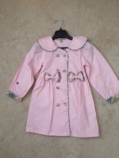 girls, burberry, light pink with plaid detail topper Little Princess, Double Breasted, Burberry, Raincoat, Plaid, Detail, Girls, Sleeves, Pink