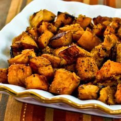 Roasted Butternut Squash with Rosemary and Balsamic Vinegar is one of my favorites!  Melissa - Use sweet potatoes instead and add Feta