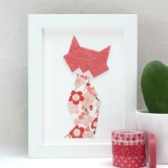 Affichette - chat en origami – corail rose rouge blanc – collection la famille chats-muses