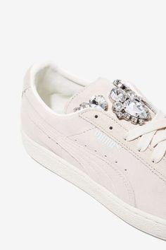 PUMA Basket Jewels Suede Sneaker - Ivory