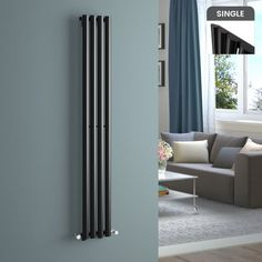 1600x240mm Black Single Oval Tube Vertical Radiator - Ember [PT-RC317] - £134.99 : Platinum Taps & Bathrooms Radiators Uk, Bathroom Radiators, Vertical Radiators, Designer Radiator, Central Heating, Bathroom Inspiration, Grey And White, Black, Tall Cabinet Storage