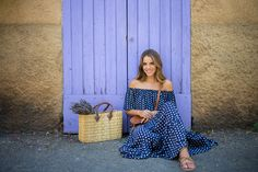 strappy sandals with off shoulder maxidress