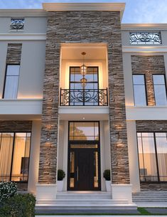 Modern House Design 654851602048246985 - Traditional stone stucco and molded cornices combined with modern landscape features give this modern classic house design a charming but unique appearance. Classic House Exterior, Modern Exterior House Designs, Classic House Design, House Front Design, Dream House Exterior, Modern House Plans, Modern House Facades, Home Exterior Design, Best Modern House Design