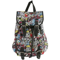 Marvel Characters Slouch Backpack | Hot Topic ($35) ❤ liked on Polyvore featuring bags, backpacks, accessories, print backpacks, slouch bag, snap bags, backpack bag and slouchy bag