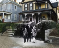 Martin Luther King Jr. Birth Home: Then & Now    Martin Luther King Jr. in front of his birth home with 2 of his children.    Original photo taken in the early 1960's by an unknown photographer