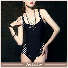 Joybestsy neue Ankunfts-schwarz mit weißen Punkten Sexy Fashion Schwimmen-Klagen