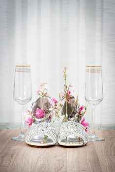 A set up of the rings with the shoes, with accent flowers and champagne glasses #kabbijpatchphotography #weddingphotography #weddingdetails #weddingshoes Champagne Glasses, Photography Portfolio, Wedding Details, Glass Vase, Patches, Wedding Photography, Table Decorations, Flowers, Rings
